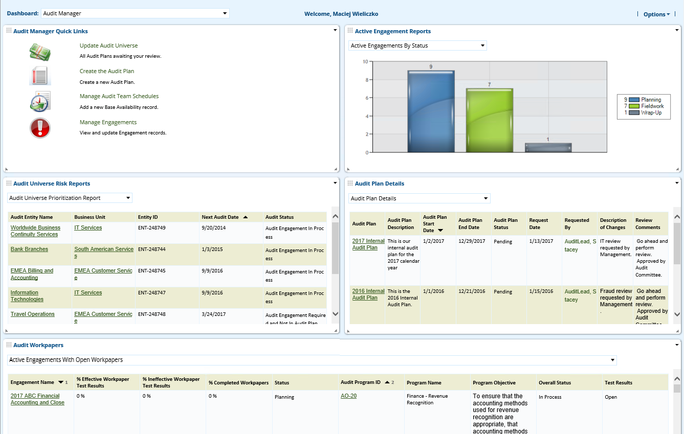 Audit Planning & Quality Dashboard