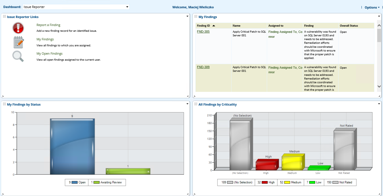 RSA Archer Issues Management Dashboard